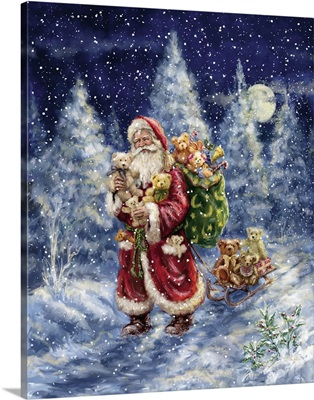 Santa in Winter Woods with sack