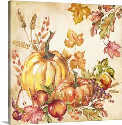 Watercolor Harvest Pumpkins I