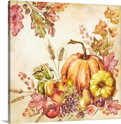 Watercolor Harvest Pumpkins II