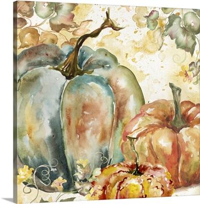 Watercolor Harvest Teal and Orange Pumpkins I