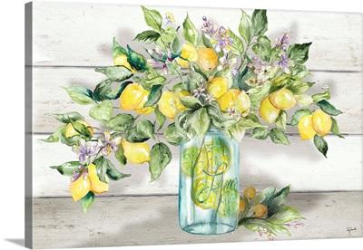 Watercolor Lemons In Mason Jar Landscape