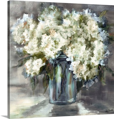 White and Taupe Hydrangeas Sill Life