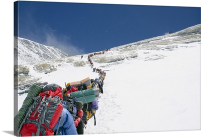 A Line Of Climbers On The Lhotse Face, Mount Everest, Sagarmatha National Park, Nepal