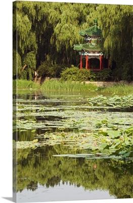 A pavilion among lily pads on a lake at Yuanmingyuan, Beijing, China