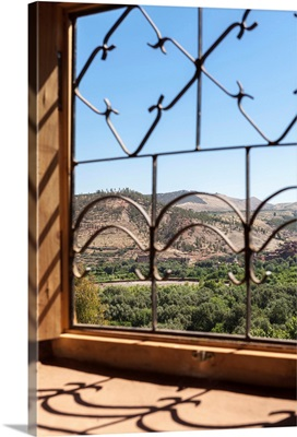 A view of the Ourika Valley as glimpsed through window, Morocco, Africa