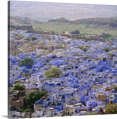 Aerial view from the fort, over the Blue Houses of Jodhpur, Rajasthan, India