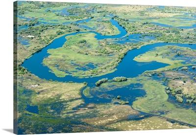 Aerial view of floodplains, eastern Caprivi Strip, Namibia