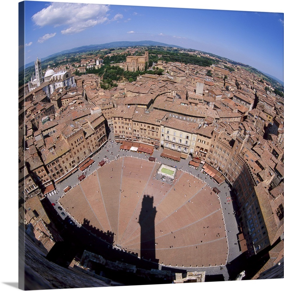 Aerial View Of The Piazza Del Campo And The Town Of Siena Tuscany Italy