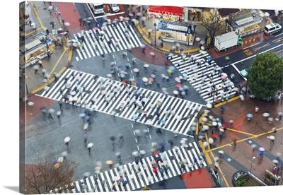 Aerial View Of The Shibuya Crossing Crosswalks, Shibuya, Tokyo, Japan