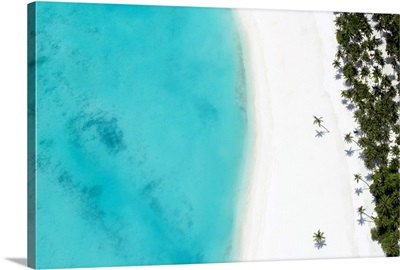 Aerial View Of Tropical Beach And Lagoon, The Maldives, Indian Ocean