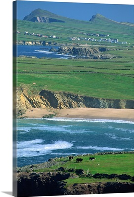 Aerial view over the Dingle Peninsula, County Kerry, Munster, Ireland