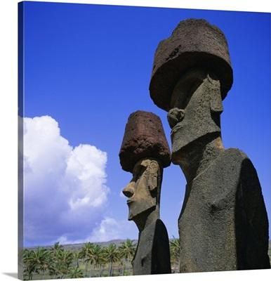 Ahu Nau Nau at Anakena, Easter Island, Chile, Pacific