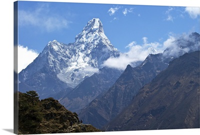 Ama Dablam from trail between Namche Bazaar and Everest View Hotel, Nepal, Himalayas