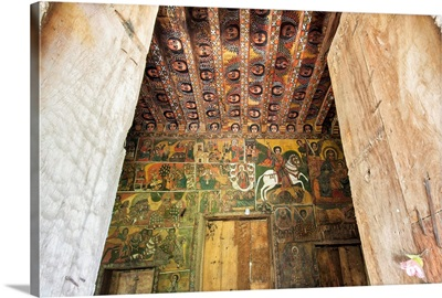Ancient wall paintings, Debre Birhan Selassie Church, Gondar, Ethiopia, Africa