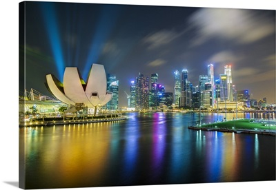 Art Science Museum and city skyline from Marina Bay, Singapore, Southeast Asia, Asia