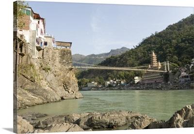 Ashrams on banks of River Ganges, Lakshman Jhula, Rishikesh, India