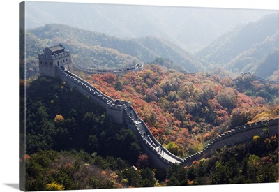 Autumn colours and a watch tower on The Great Wall of China, Badaling, China