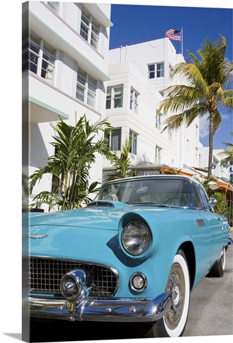 Avalon Hotel And Clic Car On South Beach City Of Miami Florida