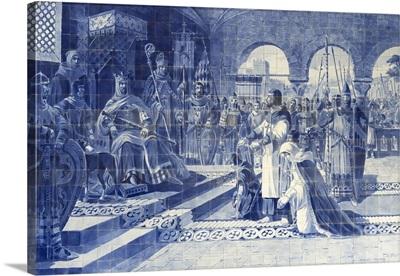 Azulejos Representing Egas Moniz Presenting Himself To The King Of Leon, Porto, Portugal
