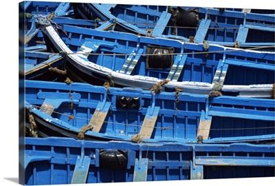 Blue boats, Essaouira, Morocco, North Africa, Africa