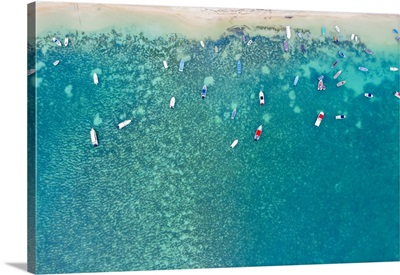Boats In The Turquoise Water Of Lagoon, Mont Choisy Beach, Mauritius, Indian Ocean