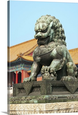 Bronzed lion guards Gate of Heavenly Purity, Forbidden City, Beijing, China