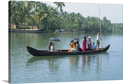 Canals and rivers used as roadways, ferry on Backwaters, India
