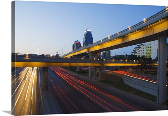 car light trails and modern buildings beijing china wall art