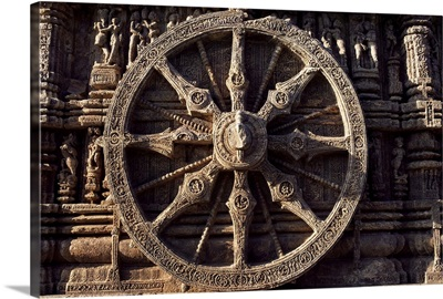 Carved chariot wheel, Sun Temple dedicated to the Hindu sun god Surya, India