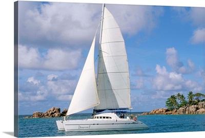 Catamaran, island of Praslin, Seychelles, Indian Ocean, Africa