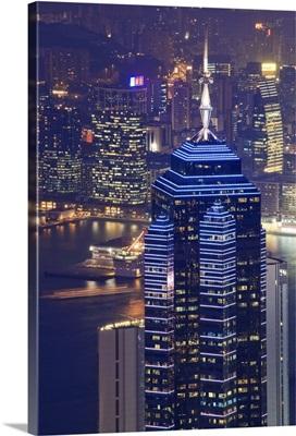 Central skyscrapers at night, Hong Kong, China, Asia
