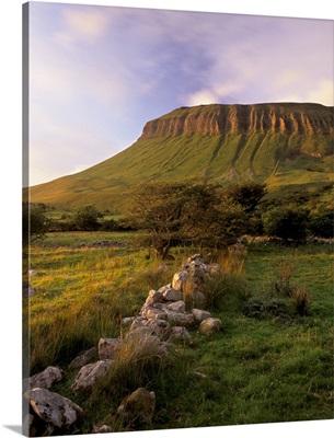 Characteristic shape of Benbulben at sunset, Connacht, Republic of Ireland
