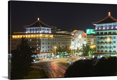 Chinese style hotel building and city lights, Xian City Shaanxi Province, China