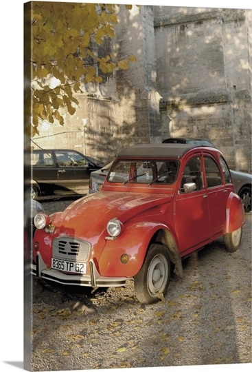 citroen diane parked outside church st omer pas de calais france wall art canvas prints. Black Bedroom Furniture Sets. Home Design Ideas