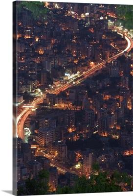 City and car lights of Jounieh, near Beirut, Lebanon
