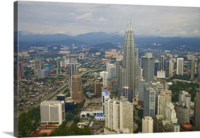 City and Petronas Towers, KLCC, Kuala Lumpur, Malaysia