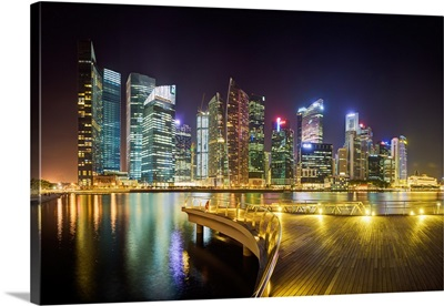 City skyline at night, Marina Bay, Singapore, Southeast Asia