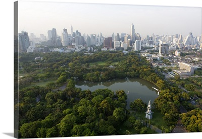 City skyline with Lumphini Park, Sathorn Road, Bangkok, Thailand