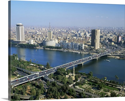 City skyline with the 6th October Bridge over the River Nile, Cairo, Egypt, Africa