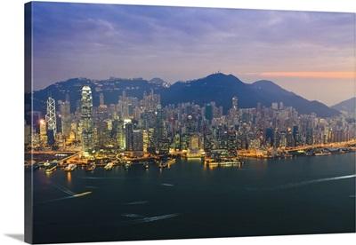 Cityscape of Hong Kong Island skyline at sunset, Hong Kong, China, Asia
