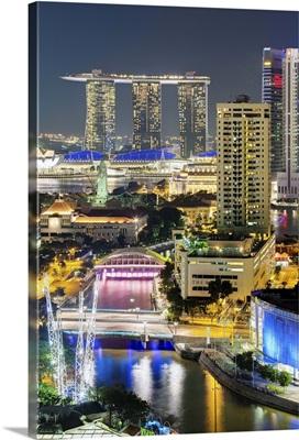 Clarke Quay, the Singapore River and city skyline at night, Singapore