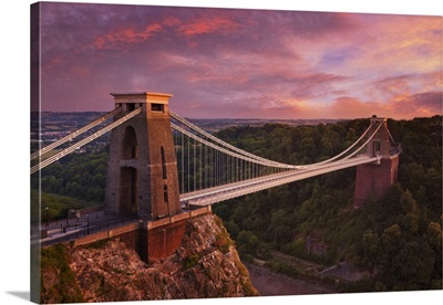 Clifton Suspension Bridge At Sunset, Clifton Downs, Bristol, England