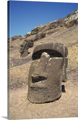 Close-up of moai heads, Easter Island (Rapa Nui), UNESCO World Heritage Site, Chile