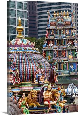 Close up of the Gopuram of the Sri Mariamman Temple, Singapore