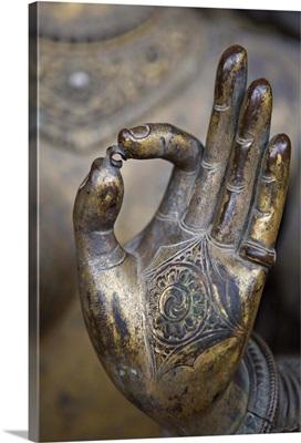 Close-up of the hand of Ganga, a river goddess statue, Patan, Kathmandu Valley, Nepal