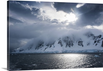 Clouds over the mountains and glaciers of Port Lockroy, Antarctica