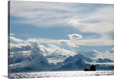Coastal freighter and the Lyngen Alps, Troms, arctic Norway