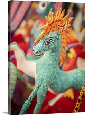 Colorful carved wooden figure of a horse, Oaxaca valley, Oaxaca, Mexico