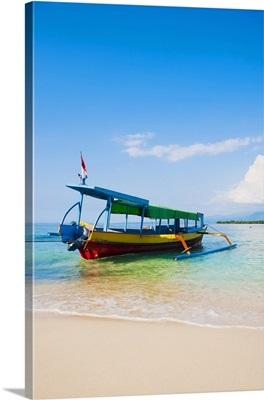 Colourful boat on the tropical island of Gili Meno, Gili Islands, Indonesia