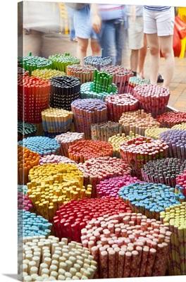 Colourful decorative chopsticks for sale as souvenirs to tourists, Singapore